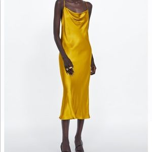 ZARA COWL NECK SLIP DRESS - MUSTARD YELLOW size L